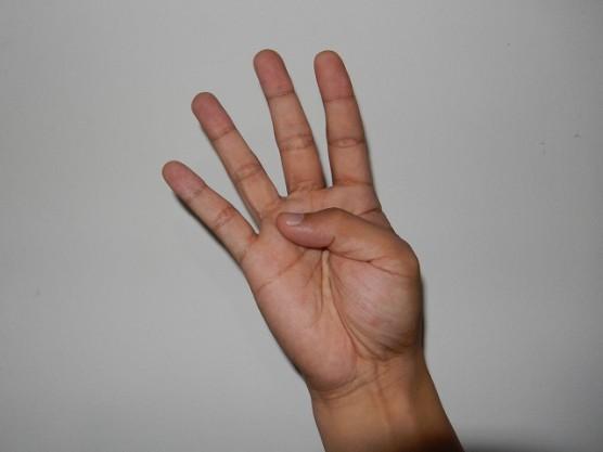 中国式に数字の四を手で表現