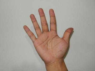 中国式に数字の五を手で表現