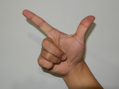中国式に数字の八を手で表現