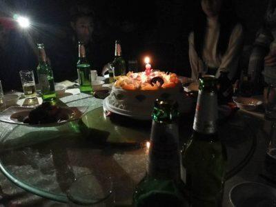中国忘年会で誕生日ケーキ