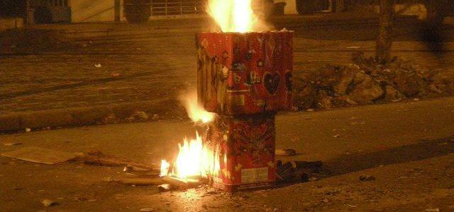 中国春節上がる花火