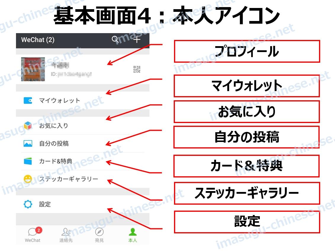 WeChatの本人画面の紹介