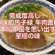 完成度高し!神保町馬子禄牛肉面は本場中国を思い出す至極の味