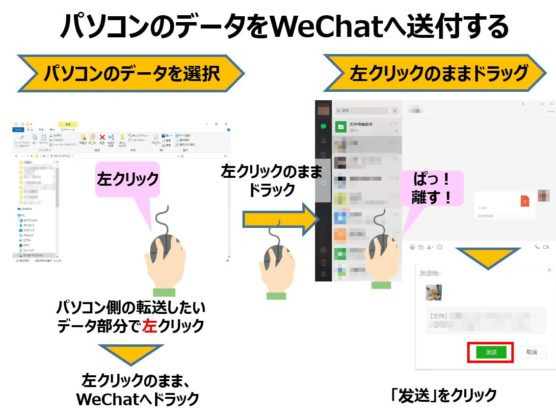 WeChatのスマホへパソコンからデータ転送する