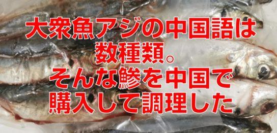 大衆魚アジの中国語は数種類。そんな鯵を中国で購入して調理